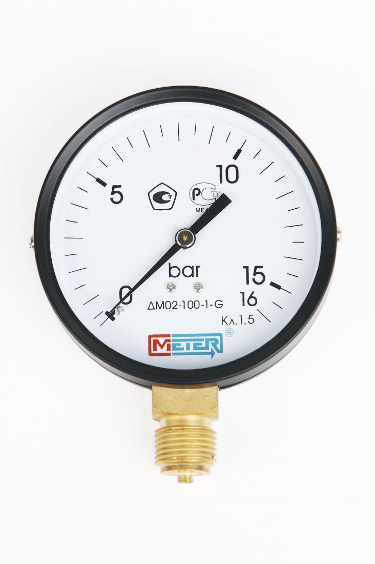 Манометр ДМ02-100 радиальный Дк100мм 0-25 кгс/см2 М20х1,5 Метер