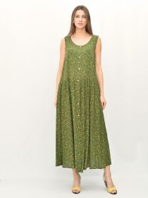 Платье для беременных хаки, желтые цветы  АПБ-012.0/ХЖЦ