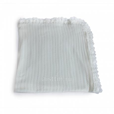 Одеяло-плед с кружевом, размер 90*95, вязан., кулир