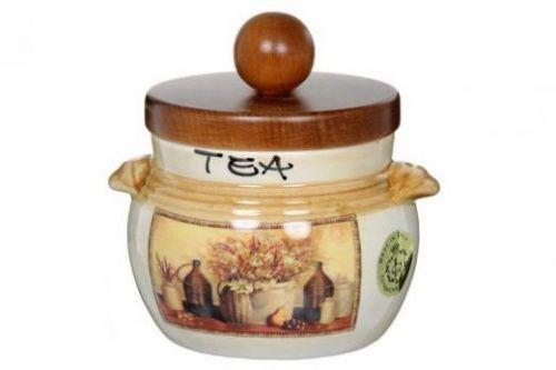 Банка для чая с деревянной крышкой Натюрморт LCS670PLTV-AL