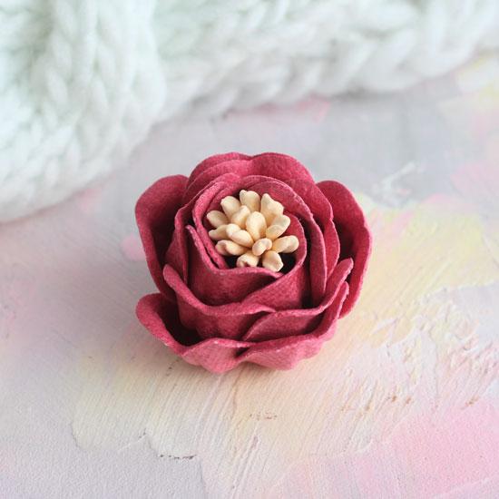 Цветок 3 см. плотный тканевый, малиновый