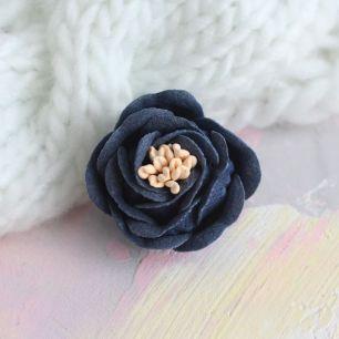 Цветок 3 см. плотный тканевый, синий