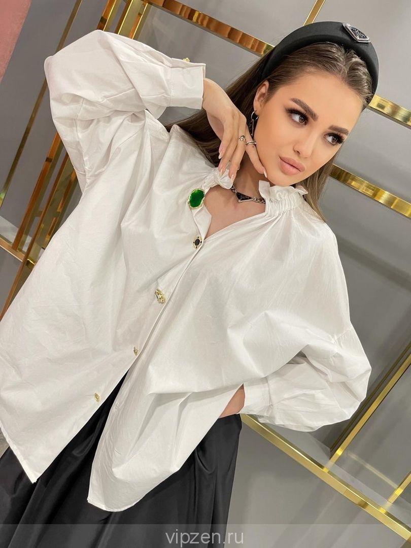 Роскошная объемная Блуза с фактурными пуговицами