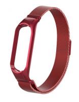 Сменный металлический ремешок с магнитной застежкой на фитнес-браслет Xiaomi mi band 5 ( Красный )