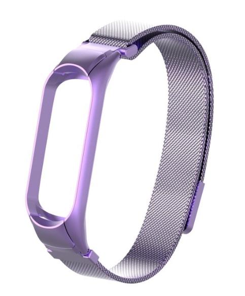 Сменный металлический ремешок с магнитной застежкой на фитнес-браслет Xiaomi mi band 5 ( Фиолетовый )