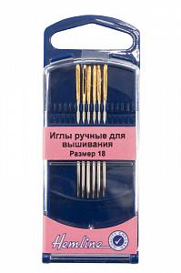 Иглы Hemline для вышивания с золотым ушком и закругленным кончиком в пластиковом контейнере ( 283G.18)