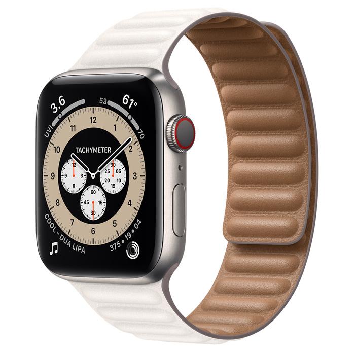Часы Apple Watch Edition Series 6 GPS + Cellular 44mm Titanium Case with Chalk Leather Link