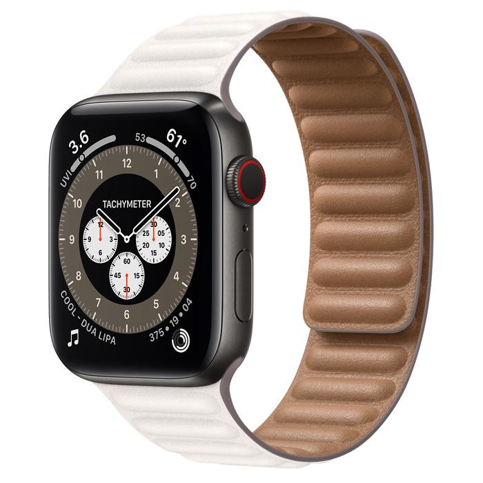Часы Apple Watch Edition Series 6 GPS + Cellular 44mm Space Black Titanium Case with Chalk Leather Link