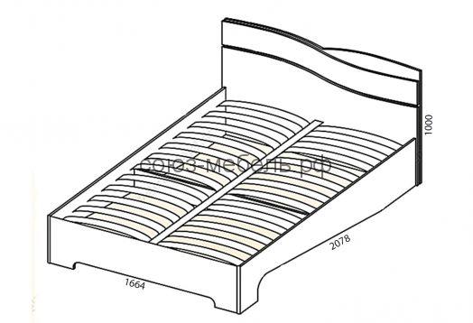 Спальня Сорренто (тумба ТБ+кровать КР-1 (п. место 1600х2000)+тумба ТБ+шкаф-купе ШК+зеркало Z+комод КМ)