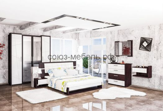 Спальня Барселона (шкаф 4х+кровать+тумбочки 2шт+комод+зеркало)