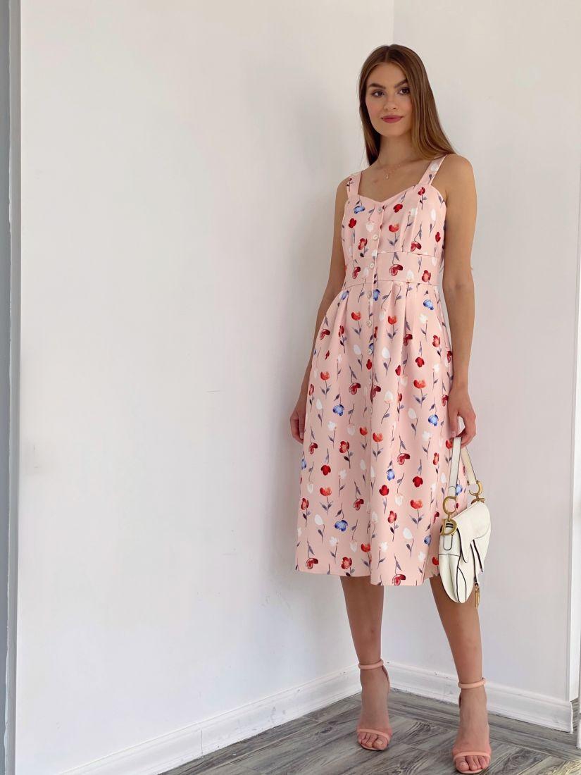 4054 Сарафан с расклешённой юбкой персиковый с цветами