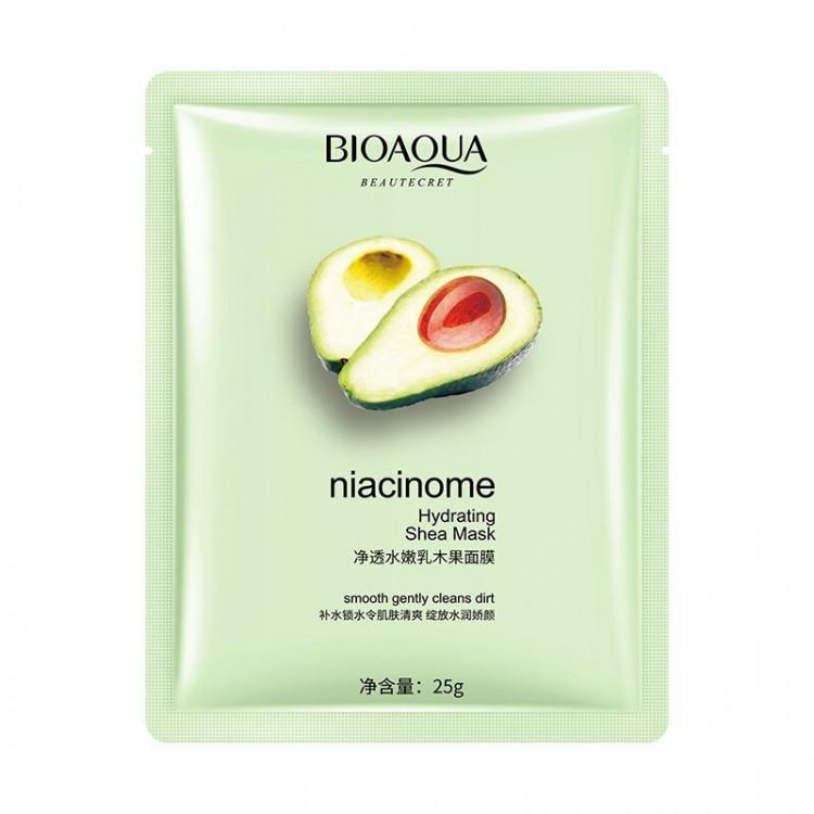 Очищающая и увлажняющая маска с экстрактом авокадо и маслом ши Bioaqua Niacinome Hydrating Shea Mask