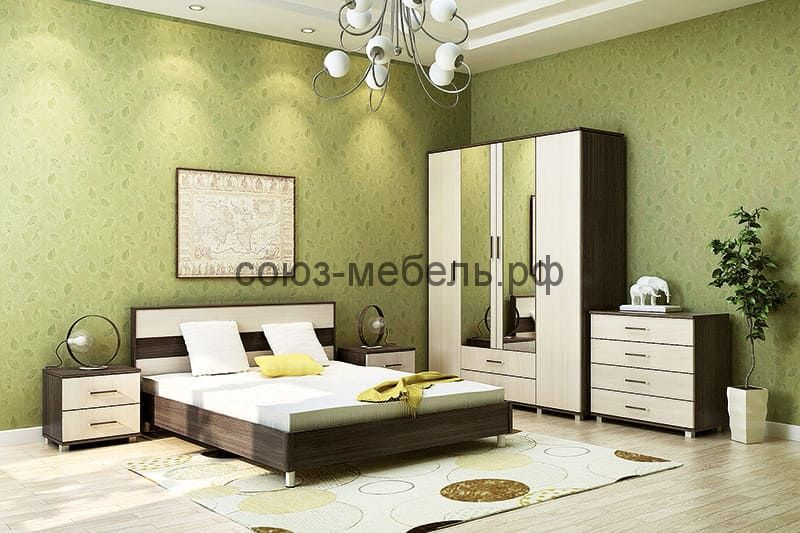 Спальня Флоренция (кровать+2 тумбы+комод+шкаф)