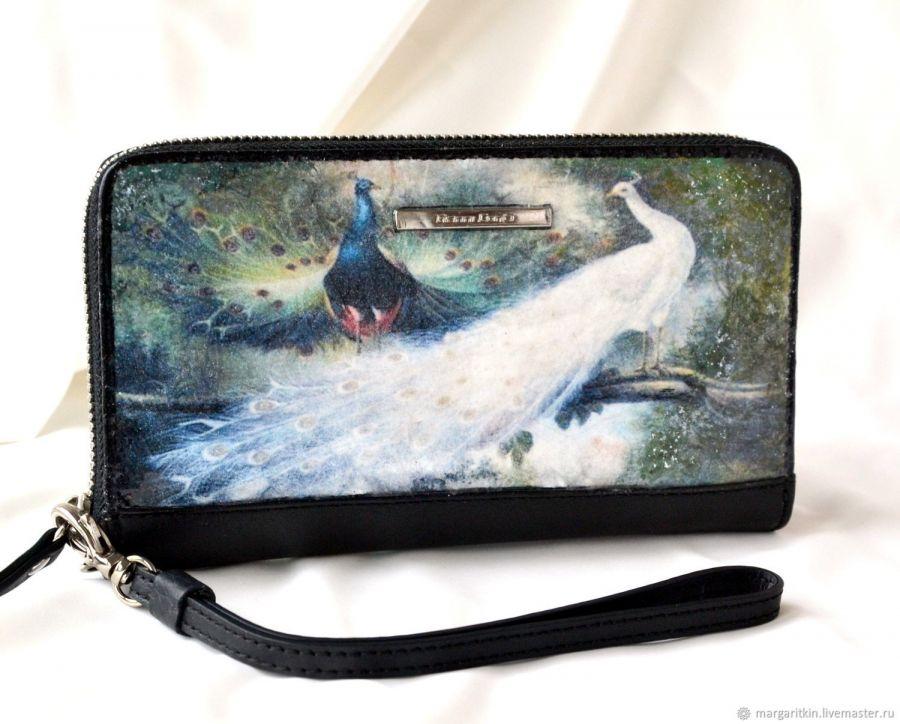 Кожаный кошелёк женский Павлины