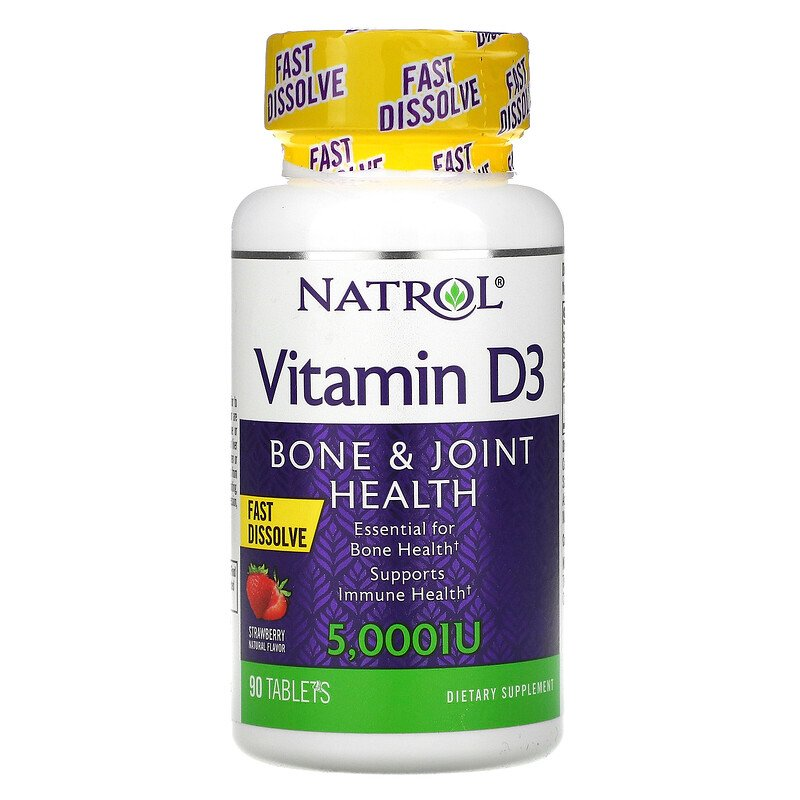 Natrol витамин D3 здоровье костей и суставов, клубника 5000 МЕ 90 таблеток