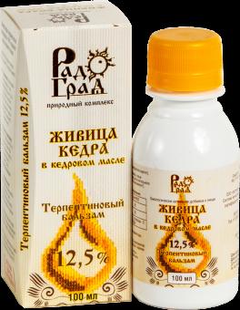 Живица кедровая в кедровом масле 12.5%, 100мл (терпентиновый бальзам)