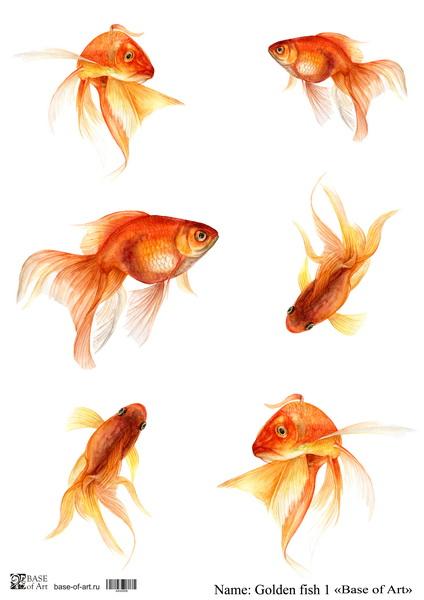 Декупажная карта Base of art, 20*30 см, Golden fish 1