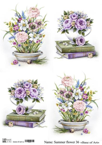 Декупажная карта Base of art, 20*30 см, Summer flower 36