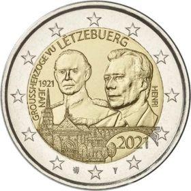 100 лет со дня рождения Герцога Жана   2 евро Люксембург 2021 UNC Набор из 2 монет