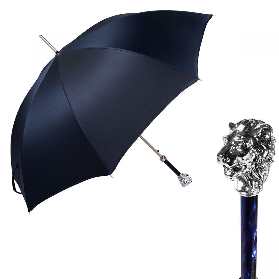 Зонт-трость Pasotti Leone Silver Oxford Blu