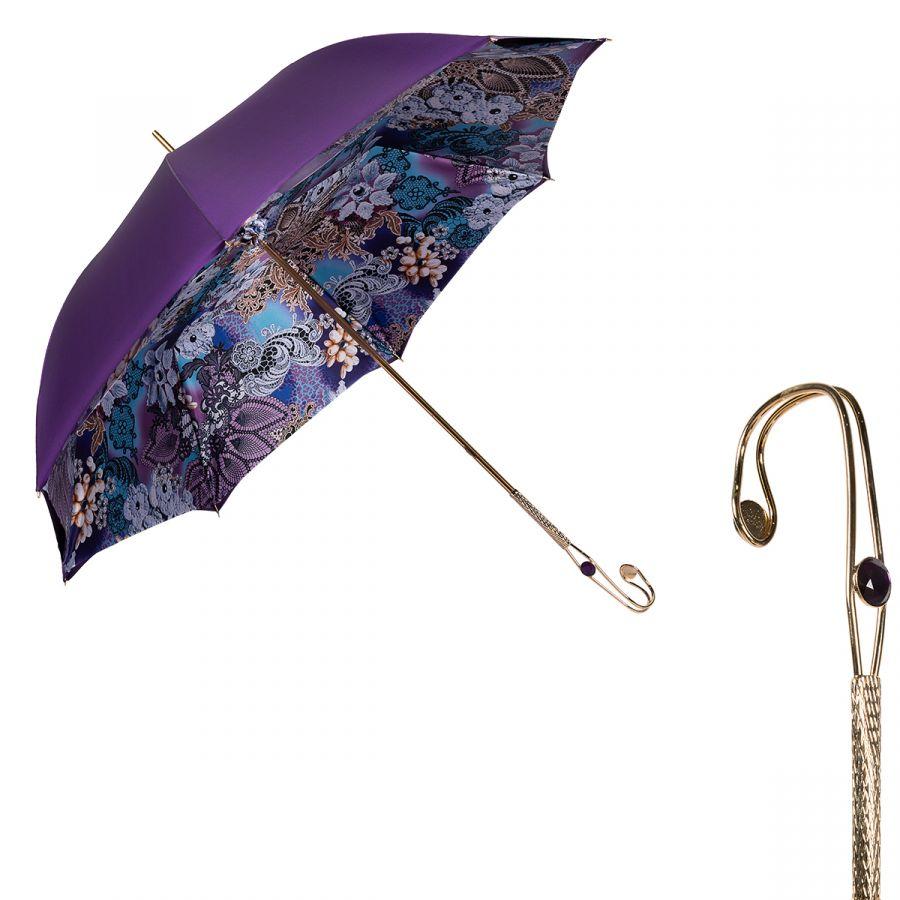 Зонт-трость Pasotti Vialato Novita Viola Duo Oro