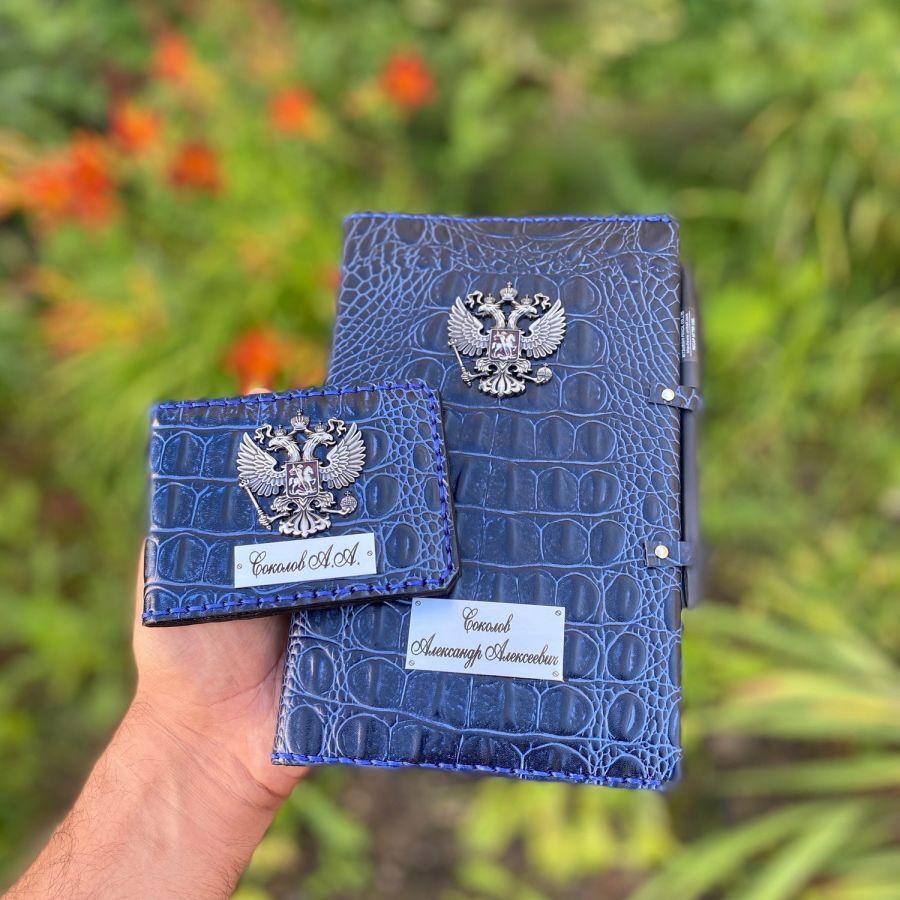 Подарочный набор из кожи  ежедневник А5 и обложка на удостоверение