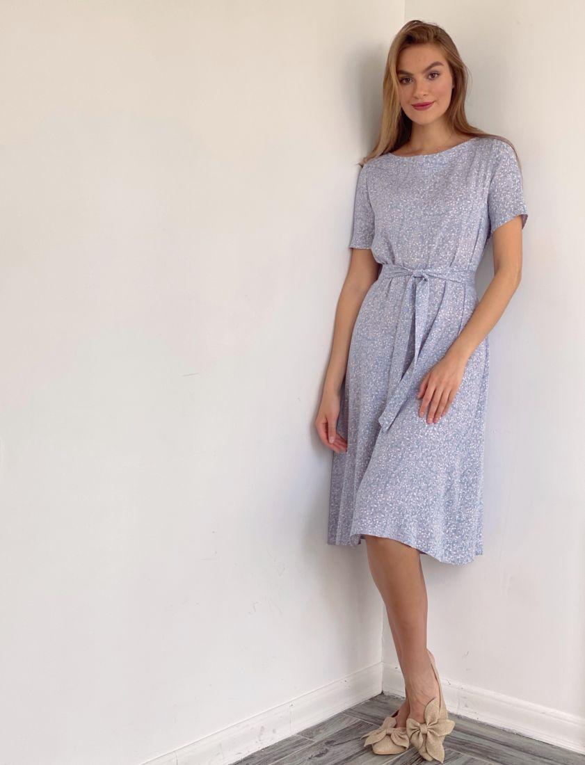 4102 Платье лавандовое с мелким принтом