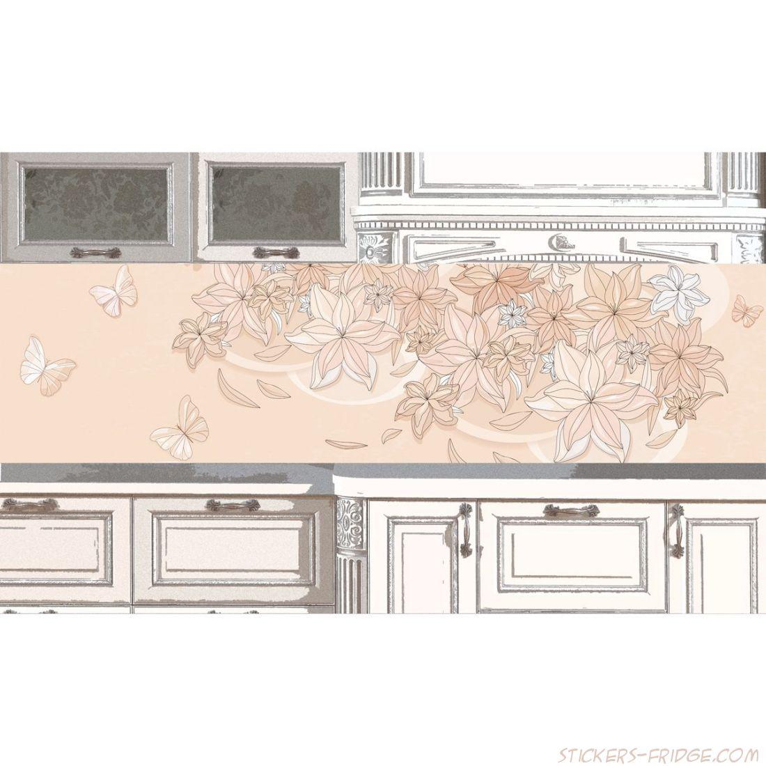 Наклейка на фартук кухни - Floral-1