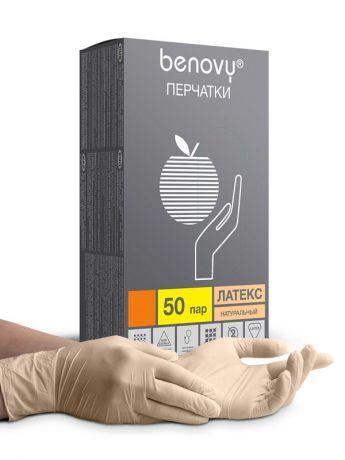 Перчатки латексные, опудренные Benovy, 50 пар