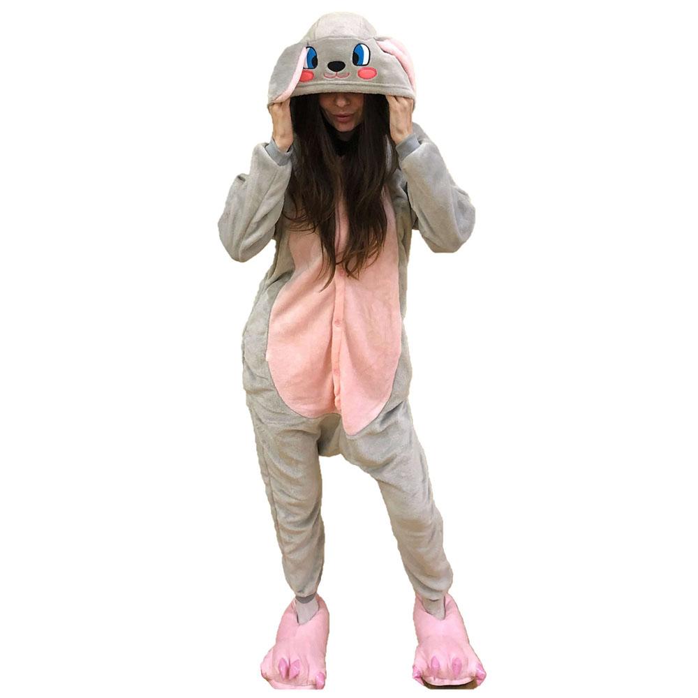 Детская Пижама Кигуруми Заяц Серо-Розовый