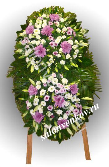 Элитный траурный венок из живых цветов №98, РАЗМЕР 100см,120см,140см,170см
