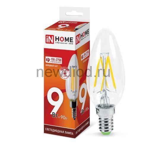 Лампа светодиодная LED-СВЕЧА-deco 9Вт 230В Е14 6500К 810Лм прозрачная IN HOME