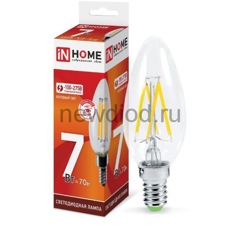 Лампа светодиодная LED-СВЕЧА-deco 7Вт 230В Е14 6500К 630Лм прозрачная IN HOME