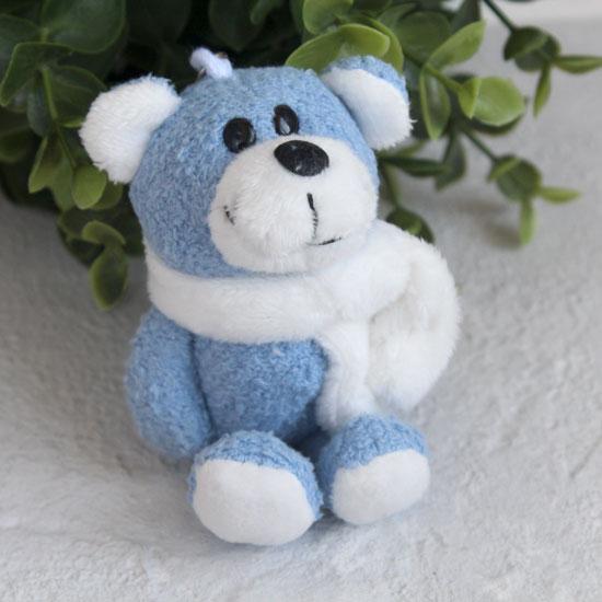 Игрушка для куклы Nici, мишка с шарфиком голубой, 11 см.
