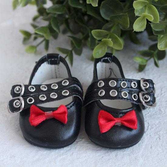 Обувь для кукол - Сандалии черные с красным бантиком, 7 см.