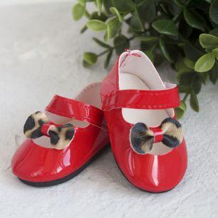 Обувь для кукол - Сандалии красные с леопардовым бантиком, 7 см.