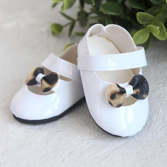 Обувь для кукол - Сандалии белые с леопардовым бантиком, 7 см.