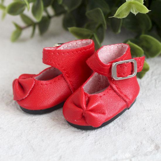 Обувь для кукол - Сандалии высокие с бантиком красные, 4 см.