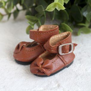 Обувь для кукол - Сандалии высокие с бантиком коричневые, 4 см.