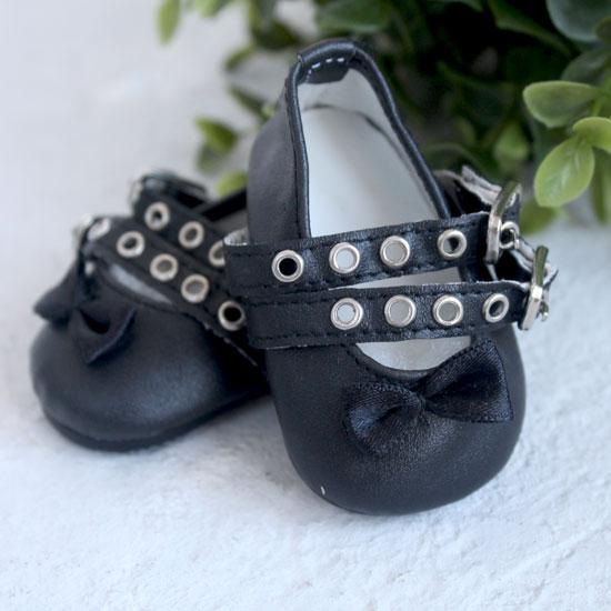 Обувь для кукол - Сандалии черные с двойным ремешком, 7 см.