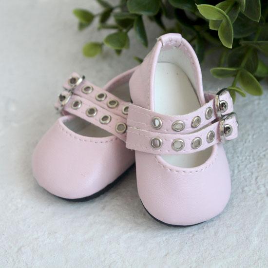 Обувь для кукол - Сандалии розовые с двойным ремешком, 7 см.