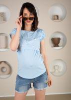 """Футболка """"Миган"""" для беременных и кормящих цвет голубой"""