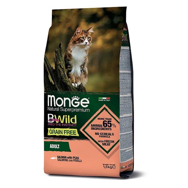 Сухой корм для кошек BWILD Feed the Instinct беззерновой с лососем и горошком 1.5 кг