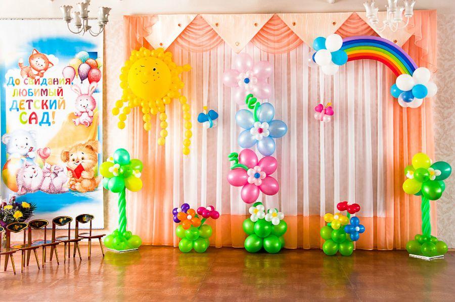 Оформление из шаров на выпускной в детском саду 11