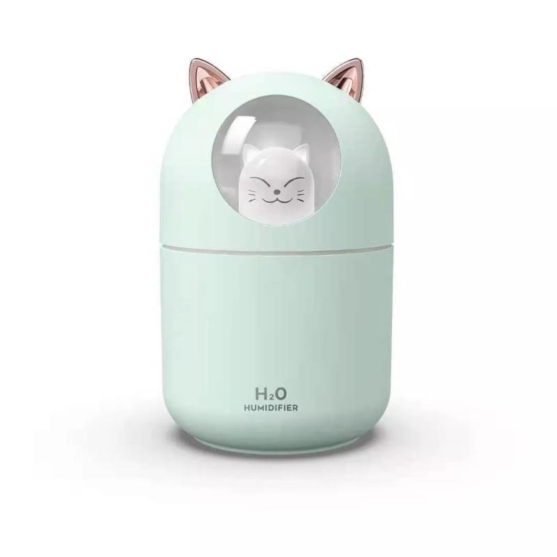 Ультразвуковой увлажнитель воздуха, ночник для дома - Humidifier H2O, Котик зеленый