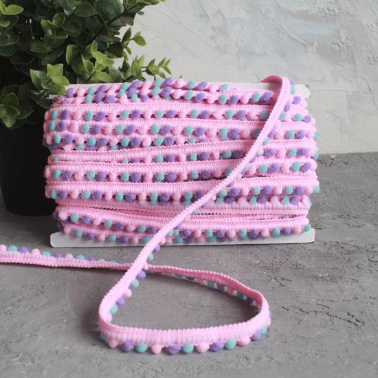 Тесьма с помпонами Розовая пестрая