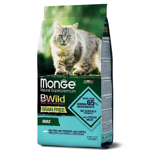 Сухой корм для кошек Monge BWILD Feed the Instinct беззерновой с треской с картофелем и чечевицей 1.5 кг