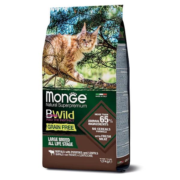 Сухой корм для кошек BWILD Feed the Instinct для крупных пород беззерновой с буйволом с картофелем и чечевицей 1.5 кг