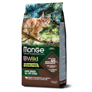 Сухой корм для кошек Monge BWILD Feed the Instinct для крупных пород беззерновой с буйволом с картофелем и чечевицей 1.5 кг