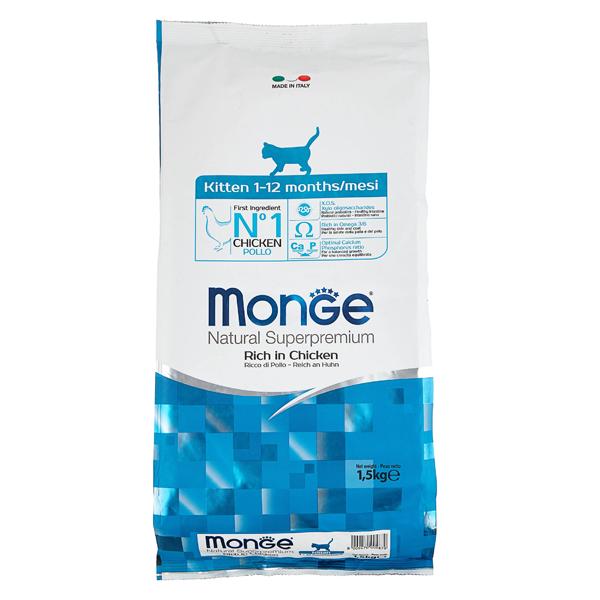 Сухой корм для котят Monge Natural Superpremium Kitten с курицей 1.5 кг
